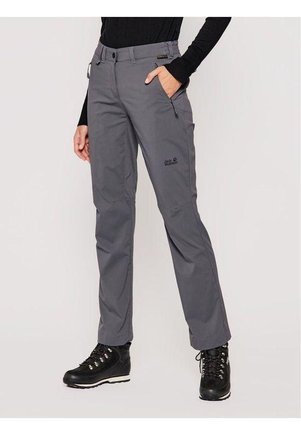 Szare spodnie sportowe Jack Wolfskin outdoorowe