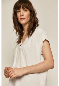 Biała bluzka medicine casualowa, z krótkim rękawem