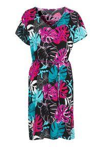 Cellbes Wzorzysta sukienka z paskiem do wiązania we wzory female ze wzorem 34/36. Typ kołnierza: dekolt w serek. Typ sukienki: proste
