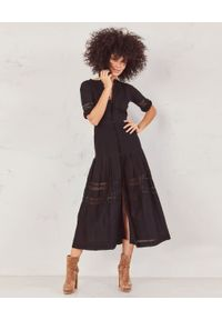 LOVE SHACK FANCY - Sukienka midi Rebecca. Kolor: czarny. Materiał: bawełna, koronka. Wzór: koronka, ażurowy, aplikacja. Typ sukienki: rozkloszowane. Długość: midi