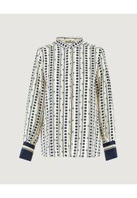 Marella - MARELLA - Wzorzysta koszula Cluny. Okazja: do pracy, na spotkanie biznesowe. Kolor: biały. Materiał: jeans, tkanina. Długość rękawa: długi rękaw. Długość: długie. Wzór: gładki, nadruk. Styl: biznesowy, elegancki
