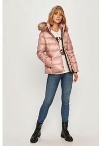Różowa kurtka Calvin Klein na co dzień, z kapturem, casualowa