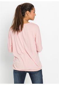 Różowa bluzka bonprix z okrągłym kołnierzem, retro