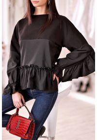 Czarna bluzka IVET na co dzień, z falbankami, casualowa
