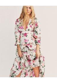 LOVE SHACK FANCY - Wzorzysta sukienka Lorencia. Kolor: biały. Materiał: bawełna, tkanina, jedwab. Wzór: kwiaty. Długość: maxi