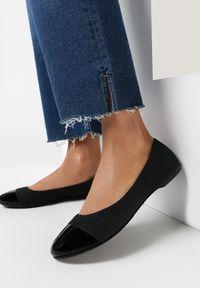 Born2be - Czarne Matowe Balerinki Adreavianna. Nosek buta: okrągły. Zapięcie: bez zapięcia. Kolor: czarny. Materiał: nubuk, lakier, skóra ekologiczna, syntetyk. Wzór: aplikacja. Obcas: na obcasie. Styl: wizytowy, elegancki
