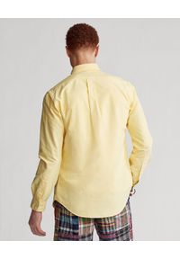 Ralph Lauren - RALPH LAUREN - Żółta koszula Oxford Custom Fit. Okazja: na co dzień. Typ kołnierza: polo. Kolor: żółty. Długość rękawa: długi rękaw. Długość: długie. Wzór: haft, kolorowy. Styl: casual, klasyczny