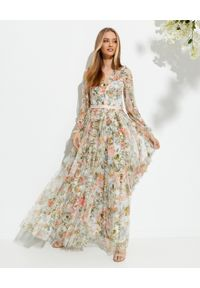 NEEDLE & THREAD - Sukienka maxi Rose Garden. Okazja: na imprezę. Kolor: niebieski. Materiał: materiał. Długość rękawa: długi rękaw. Wzór: nadruk, kwiaty. Styl: wizytowy. Długość: maxi