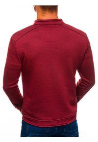 Ombre Clothing - Bluza męska rozpinana bez kaptura C453 - czerwona - XL. Typ kołnierza: bez kaptura. Kolor: czerwony. Materiał: poliester, bawełna, żakard
