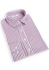 Fioletowa koszula VEVA w paski, z klasycznym kołnierzykiem