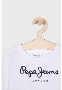 Biała koszulka z długim rękawem Pepe Jeans na co dzień, z nadrukiem, casualowa