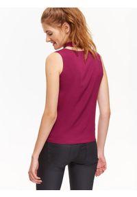 Fioletowa bluzka TROLL na zimę, z dekoltem w serek, na imprezę, w kolorowe wzory