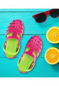REALPAKS - Klapki dziecięce Realpaks SLD-08 Różowo-Zielone. Okazja: na plażę. Kolor: różowy, zielony, wielokolorowy. Materiał: tworzywo sztuczne. Styl: młodzieżowy