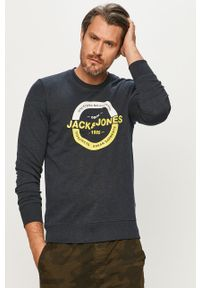 Niebieska bluza nierozpinana Jack & Jones casualowa, bez kaptura