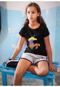 Shirt dziewczęcy z nadrukiem jednorożca bonprix czarny. Kolor: czarny. Wzór: nadruk