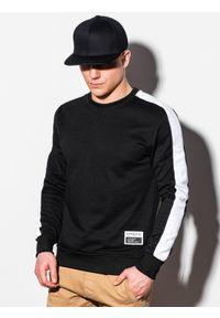Czarna bluza Ombre Clothing bez kaptura, z aplikacjami