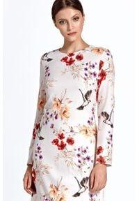 Colett - Elegancka sukienka w kwiaty. Materiał: poliester, materiał. Długość rękawa: długi rękaw. Wzór: kwiaty. Typ sukienki: proste. Styl: elegancki
