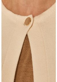 Kremowy sweter rozpinany Stefanel z włoskim kołnierzykiem, na co dzień, klasyczny
