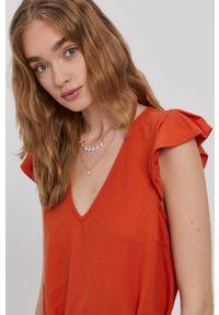 Vila - Sukienka. Kolor: pomarańczowy. Materiał: tkanina. Długość rękawa: krótki rękaw. Wzór: gładki. Typ sukienki: rozkloszowane