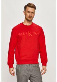 Czerwona bluza nierozpinana Calvin Klein Jeans na co dzień, bez kaptura, casualowa, z aplikacjami