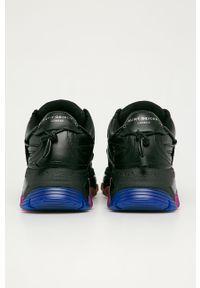 Czarne buty sportowe Kurt Geiger London na obcasie, na sznurówki, z okrągłym noskiem