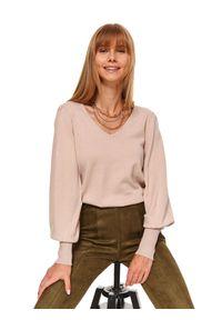 Beżowy sweter TOP SECRET długi, z długim rękawem