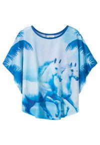 Shirt dziewczęcy plażowy bonprix lodowy niebieski. Okazja: na plażę. Kolor: niebieski