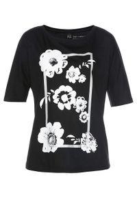 Czarna bluzka bonprix długa, w kwiaty, z długim rękawem