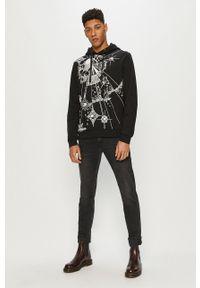 Trussardi Jeans - Bluza bawełniana. Okazja: na co dzień. Kolor: czarny. Materiał: bawełna. Wzór: nadruk. Styl: casual