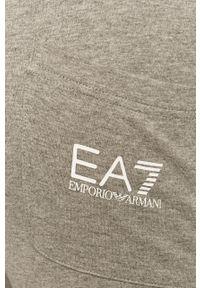 Szare spodnie dresowe EA7 Emporio Armani z nadrukiem