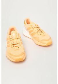 Pomarańczowe sneakersy adidas Originals na średnim obcasie, z okrągłym noskiem