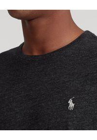 Ralph Lauren - RALPH LAUREN - Koszulka z długim rękawem Custom Fit. Typ kołnierza: polo. Kolor: szary. Materiał: bawełna, tkanina, jeans. Długość rękawa: długi rękaw. Długość: długie. Wzór: melanż, haft. Styl: klasyczny