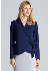 Niebieska bluzka z długim rękawem Figl z kopertowym dekoltem