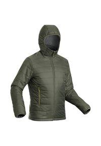 FORCLAZ - Kurtka trekkingowa męska zimowa Forclaz Trek 100 -5°C. Kolor: zielony, brązowy, wielokolorowy. Materiał: poliamid, materiał, poliester. Sezon: zima