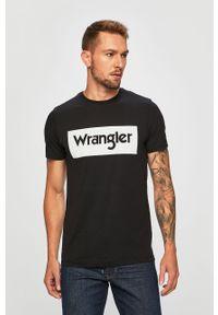 Czarny t-shirt Wrangler casualowy, na co dzień, z nadrukiem