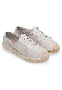 Szare półbuty Ideal Shoes w kolorowe wzory, eleganckie