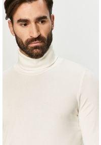 Biała koszulka z długim rękawem Tom Tailor z golfem, casualowa, na co dzień