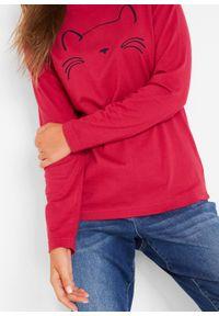Czerwona bluzka bonprix z nadrukiem, długa, z długim rękawem