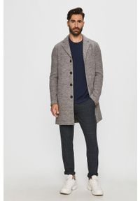 Szary płaszcz Tailored & Originals na co dzień, casualowy, bez kaptura