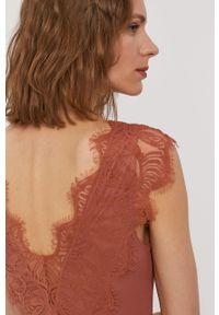 Brązowa bluzka Pieces z krótkim rękawem, gładkie, krótka