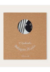 BALAGAN - Biała apaszka MESHI NO.2. Kolor: szary. Materiał: mesh, jedwab. Wzór: aplikacja. Styl: elegancki