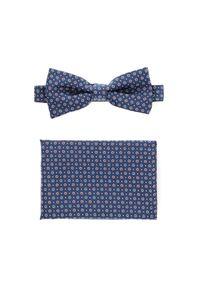 Niebieska muszka Lancerto elegancka, w kolorowe wzory