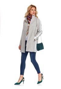 TOP SECRET - Flauszowy płaszcz z lampasem. Okazja: na co dzień. Kolor: szary. Sezon: wiosna. Styl: elegancki, casual