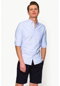 Niebieska koszula casual Lancerto button down, ze splotem