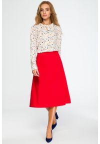 e-margeritka - Elegancka rozkloszowana spódnica midi czerwona - s. Okazja: do pracy, na spotkanie biznesowe. Kolor: czerwony. Materiał: poliester, wiskoza, materiał, elastan. Długość: do kostek. Wzór: gładki. Styl: elegancki