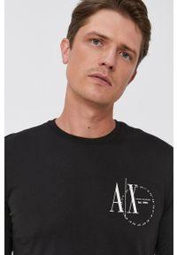 Armani Exchange - Longsleeve. Kolor: czarny. Materiał: bawełna, dzianina. Długość rękawa: długi rękaw. Wzór: nadruk