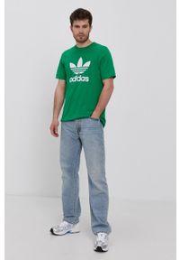 adidas Originals - T-shirt. Okazja: na co dzień. Kolor: zielony. Materiał: bawełna. Wzór: nadruk. Styl: casual