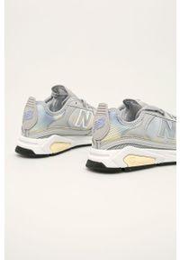 Szare buty sportowe New Balance na sznurówki, z okrągłym noskiem, z cholewką
