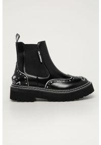 Czarne botki Karl Lagerfeld klasyczne, z cholewką, na platformie