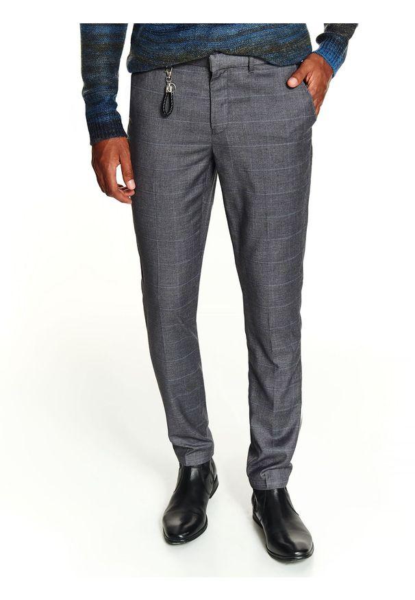 Szare spodnie TOP SECRET eleganckie, w kratkę